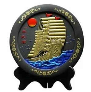 一帆风顺炭雕工艺品 商务馈赠创意装饰品碳雕摆件RD-845416